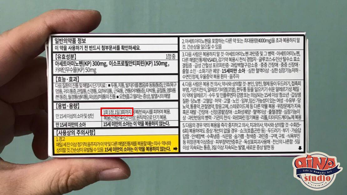 韓国鎮痛剤ゲボリン_用法用量